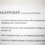 Agonoize Hinweisschild