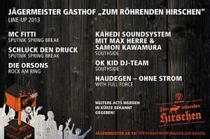 jägermeister gasthoftour line up flyer 2013